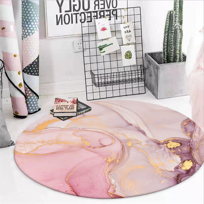 Rugs And Carpets For Home Living Room Nordic Abstract Pattern Pink Round Rug Rugs For Children Rooms 100% Polyester Non-slip