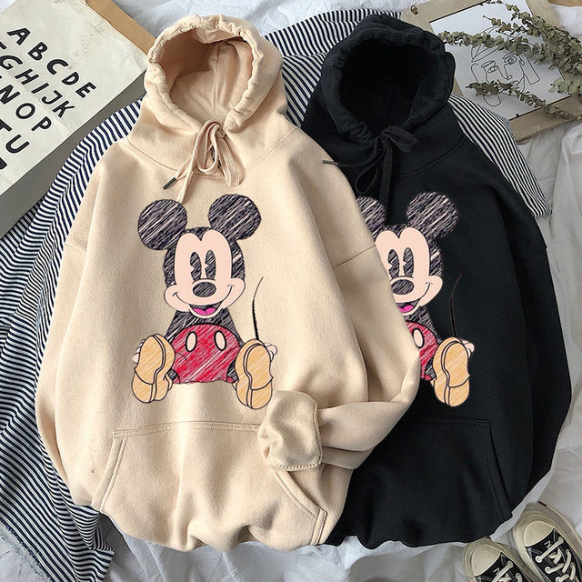 Disney 2021cartoon print sweatshirt women Funny hip hop Mickey Mouse print autumn and winter fashion Harajuku style hoodie women 1