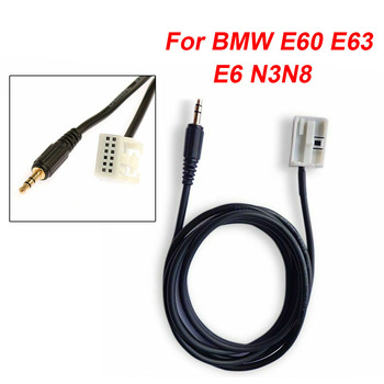 1pc Car AUX Cable High Quality Black 12pin Radio For BMW E60 E63 E6 N3N8 ABS Shell Car AUX Cable Connect To Audio Source image