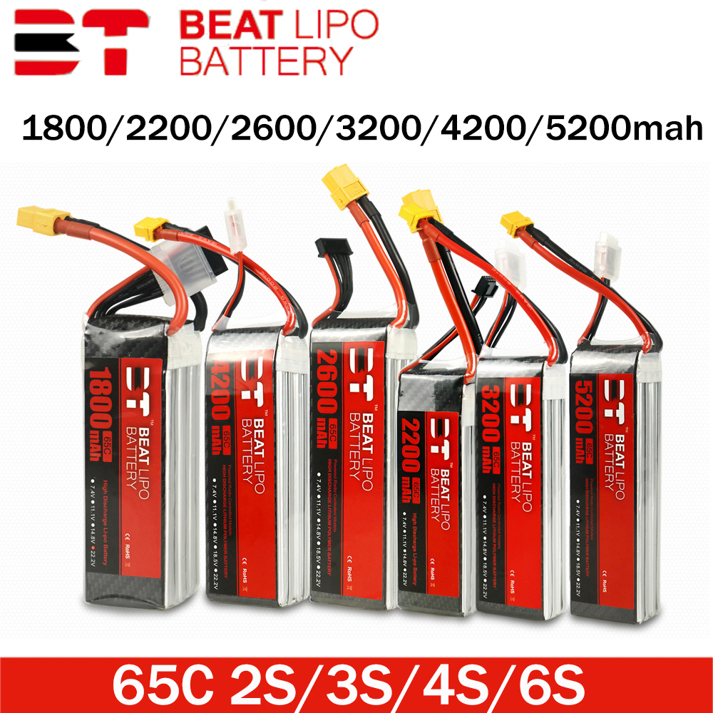 BEAT <font><b>LIPO</b></font> BATTERY X Series 1800/2200/2600/3200/4200/<font><b>5200mAh</b></font> 2S 3S <font><b>4S</b></font> 6S 65C With XT60Plug FPV Crossing Machine Battery image