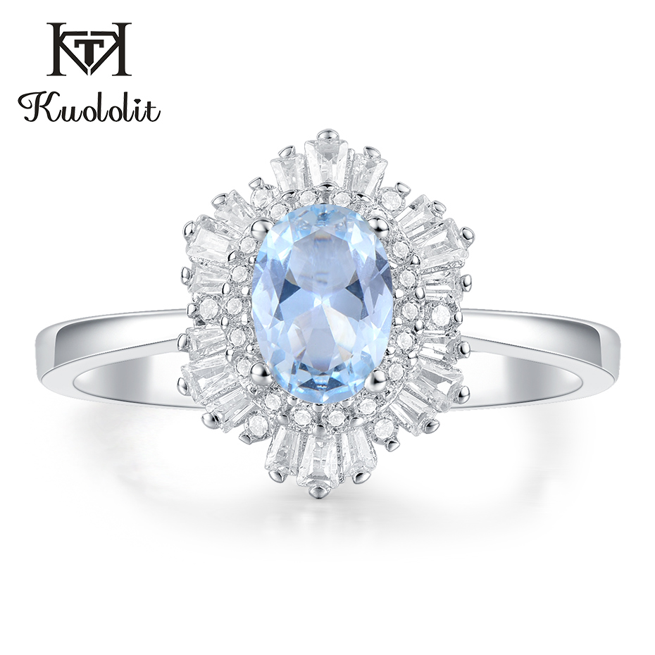 Kuololit Aquamarine Gemstone Rings For Women Solid 925 Sterling Silver Handmade Hexagon Ring Engagement Bride Gift Fine Jewelry