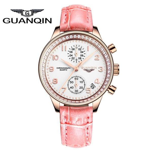GUANQIN GQ15008 lady Chronograph series quartz watch women fashion luxury watch female Austria Diamond red Leather strap - 3