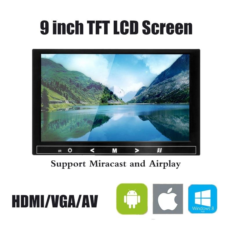 9 pouces TFT LCD couleur moniteur vidéo CCTV moniteur écran HDMI VGA BNC AV entrée pour PC CCTV sécurité et support écran rotatif