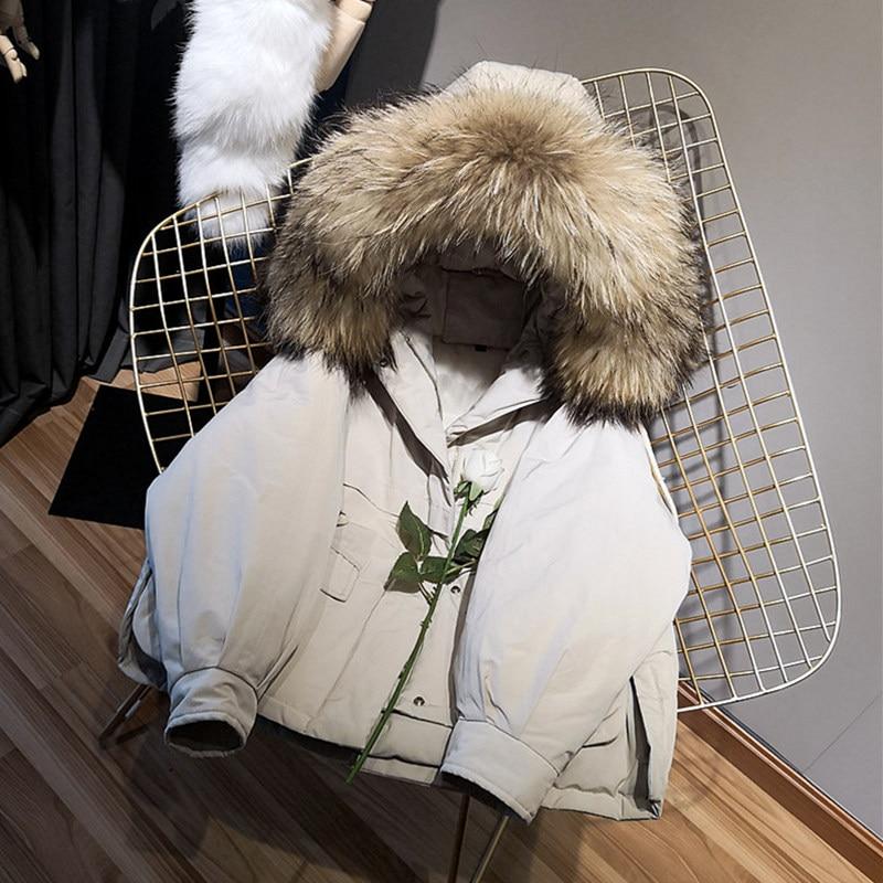 2019 Korean Clothing Winter Jacket Women Real Fur Coat  Fur Collar Loose Short Parka White Duck Down Jacket