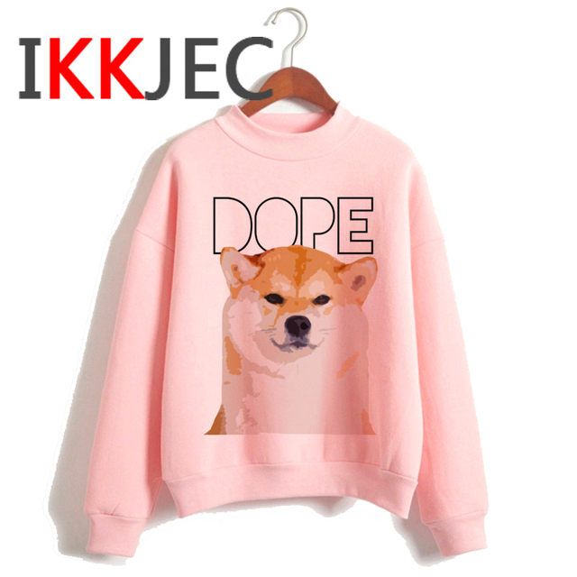 Shiba Inu Kawaii Dogs Funny Cartoon Grunge Aesthetic Hoodies Women Ladies Harajuku Cute Anime Sweatshirt Streetwear Hodoy Female 2