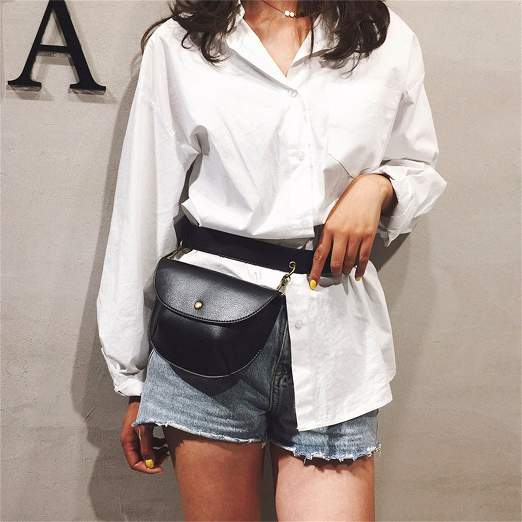 Business Leather Waist Packs For Women Designer Bum Waist Bag Female Casual Phone Belts Pouch Party Pochete Homem England Style