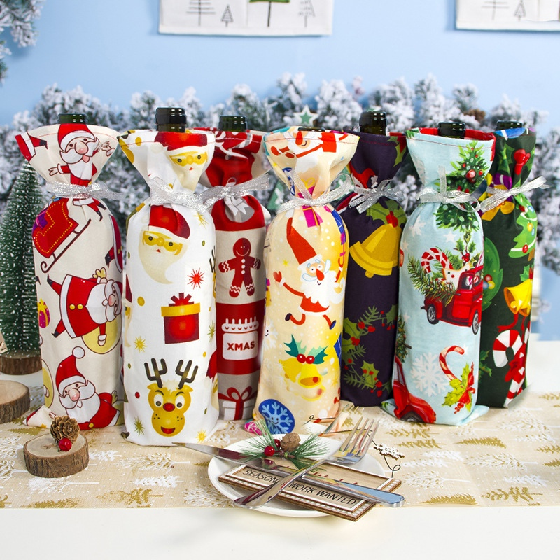 Christmas Wine Bottle Decoration Santa Claus Xmas Tree Bottle Cover Kitchen Decorations For New Year Christmas Dinner Party