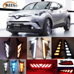 Image 1 - 1Set Led Drl Voor Toyota C HR Chr 2016 2017 2018 2019 Dagrijverlichting Achterlichten Bumper Mistlamp remlichten Waarschuwingslampje