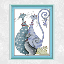 Joy Sunday Lovely Cats Paintings Cross Stitch Factory Wholesale DIY Counted Cross-Stitch Kit Embroidery Needlework Home Decor