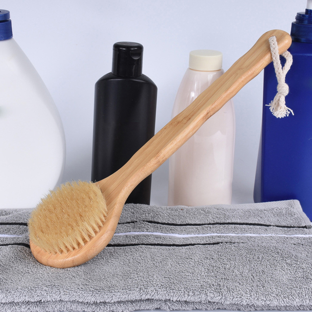 Bristle Brush SPA Exfoliating Bath Brushes Back Massage Scrubber With Long Bamboo Handle Brush Bathroom Cleaning Tools 2