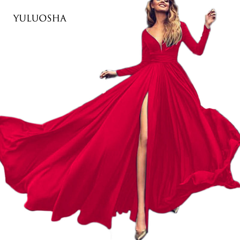 YULUOSHA 2020 Sexy Deep V-Neck Full Sleeve Split Evening Dresses Party Prom Formal Gowns Long Dresses Vestidos Robe De Soiree