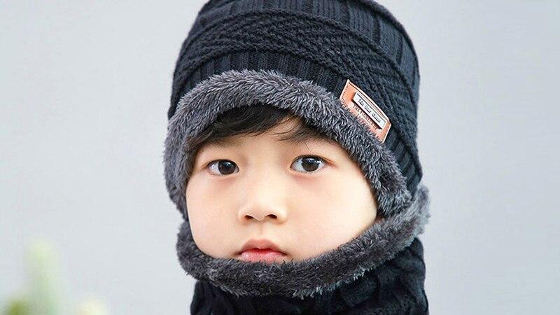 Новая модная Высококачественная зимняя детская вязаная шапка, шарф, комплект из 2 предметов, Детские утепленные бархатные шапочки, теплая шапка для мальчиков и девочек