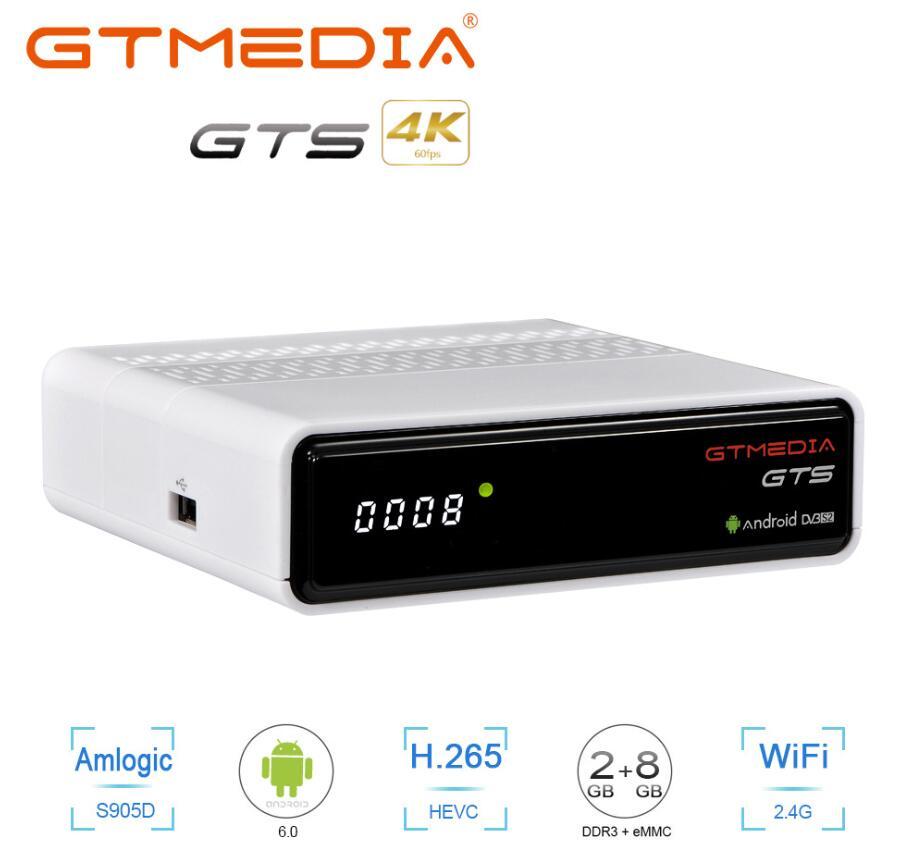 GTmedia GTS приемник DVB-S2Android 6,0 ТВ приставка + DVB-S/S2 спутниковый ресивер 2 Гб ОЗУ 8 Гб ПЗУ ip tv m3u ccam BT4.0 GTS