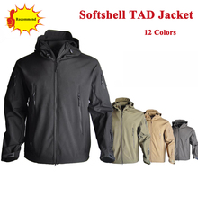 Tactical TAD SoftShell Jacket Camoufalge Hunting Clothes Mens Waterproof Hooded Windbreaker Hiking 13 Colors