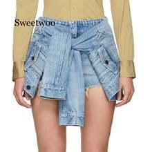 Женские Плиссированные Асимметричные короткие брюки высокие