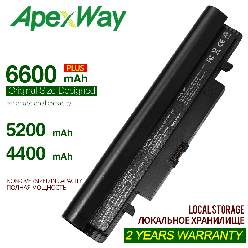 ApexWay 11.1v 4400mAh Laptop Black Battery For Samsung N100 N150 N150P AA-PB2VC3B AA-PB2VC6B AA-PL2VC6W  N250 N143 N143P N145