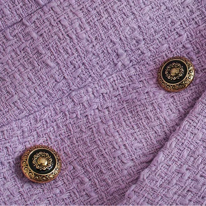 Spring Autumn Women Vintage Purple Tweed Blazers And Jackets Chic Button Suit Coat Female Office Blazer Outwear Tops