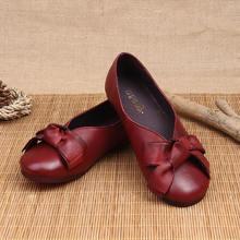 Женские туфли из натуральной кожи с бантом летние мягкой подошвой