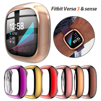 Funda protectora de pantalla para Fitbit Versa 3 y Sense, funda para reloj de TPU suave ultrafina para Fitbit Versa 3