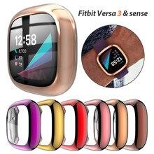 Защитный чехол для Fitbit Versa 3 & Sense, Ультратонкий Мягкий чехол из ТПУ для часов Fitbit Versa 3, защитный чехол-бампер