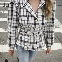 JaMerry Commute suit collar single-breasted women blazer coat Autumn winter plaid tweed