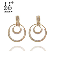 DREJEW Big Small Round Triangle Womens Statement Earrings Sets 2019 Crystal 925 Drop for Women Wedding Jewelry HE726