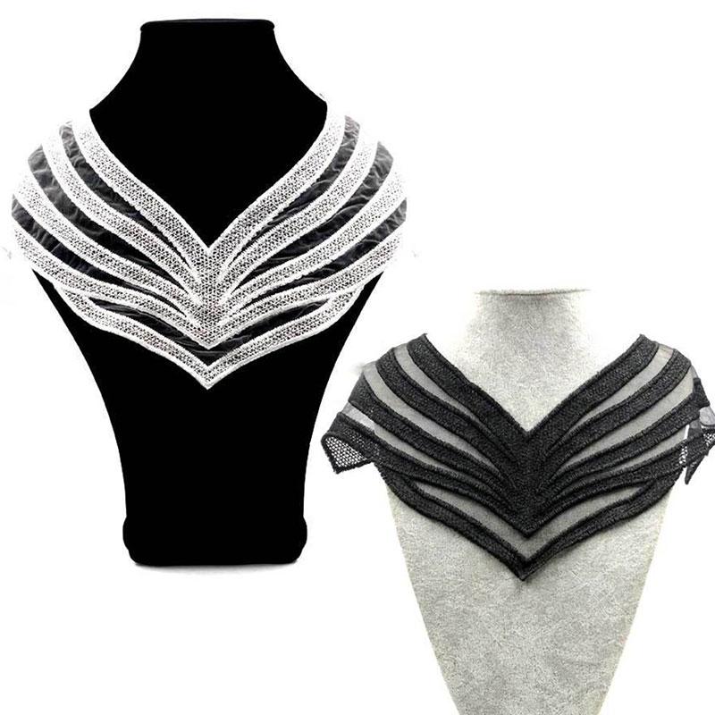 Fake collar Fabric Elegant Neckband Collarband Neck Fake collar Neckline Embroidered Applique Collars Women DIY lace fabric Sew