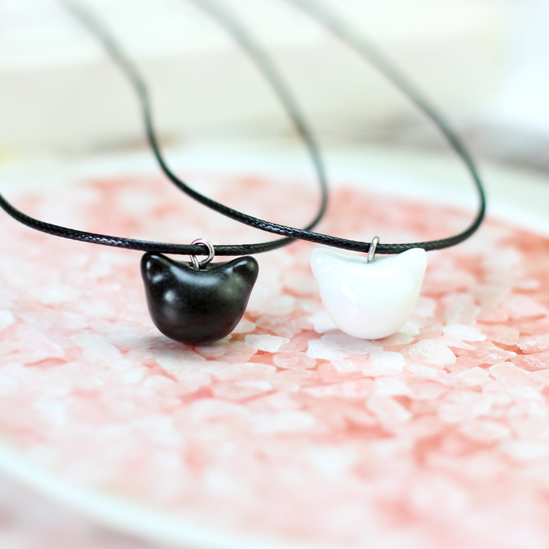 Korean Simple Cute Handmade Ceramic Cat Pendant Necklace Fashion Men and Women Couple Jewelry Accessories Small Gift