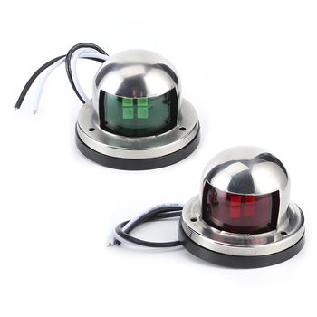 2pcs 12V Red Green LED Navigation Lights Stainless Steel Sailing Lamp for Marine Boat Yacht Boat Accessory