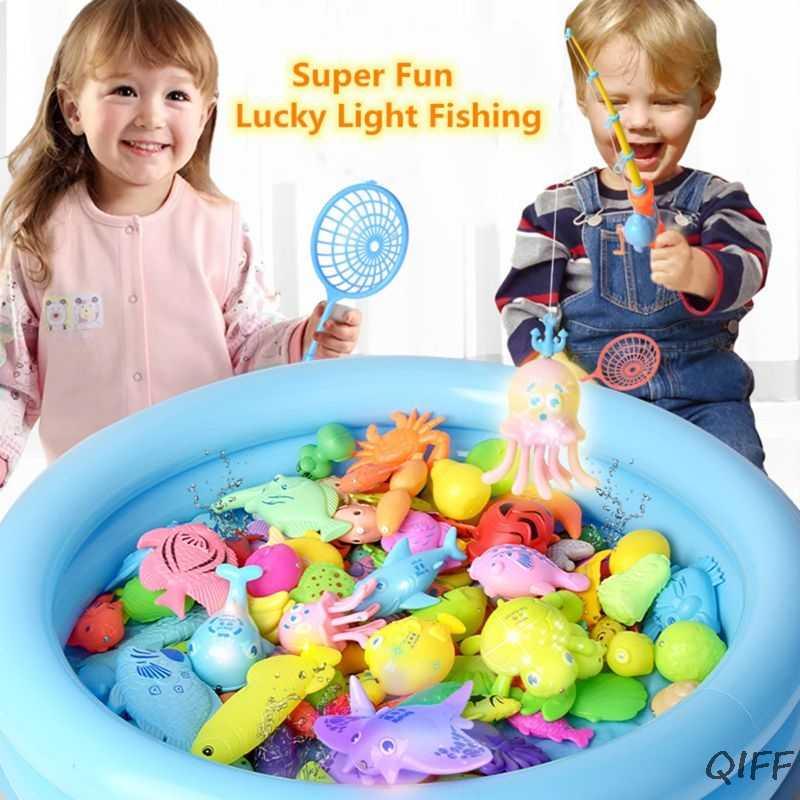 NOVO! Surpresa conjunto de brinquedos de pesca do tesouro, indução acender o brinquedo de pesca magnético, meninos meninas brinquedos de banho jogo de festa