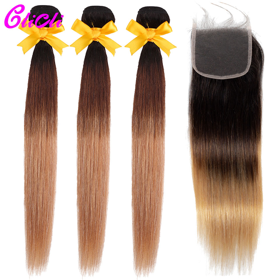 1B 4 27 Ombre Brazilian Hair Bundles With Closure 3 Tone Color Straight Human Hair Weave Bundles With 4x4 Lace Closure Non Remy