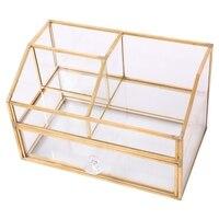 Nordic Metal Glass Cosmetic Storage Box Drawer Organizer Desktop Dust Proof Cotton Swab Tissue Box Dressing Table Shelf Decor