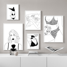 Black white Girl Underwear Body Wall Art Print Canvas Painting Nordic Canvas Posters And Prints Wall Pictures For Living Room цена и фото
