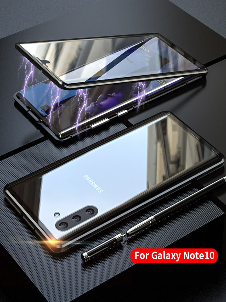 Case For Samsung Note10 Plus Magnetic Aluminum Metal Shell Full Glass Cover For Samsung Galaxy Note 10 Pro shockproof phone case