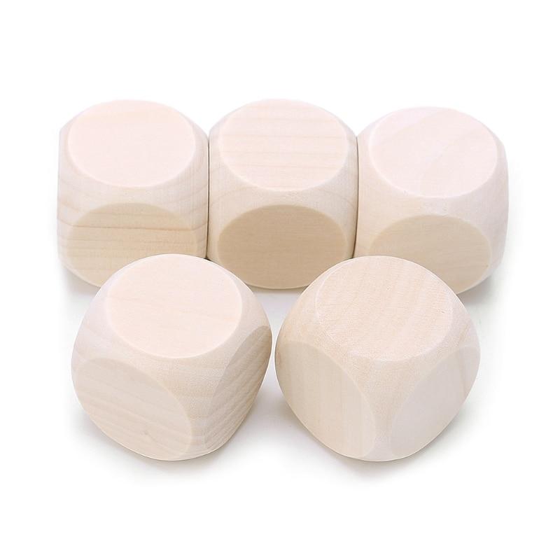 5 шт., детские деревянные игральные кости, 20 мм, 25 мм, 30 мм