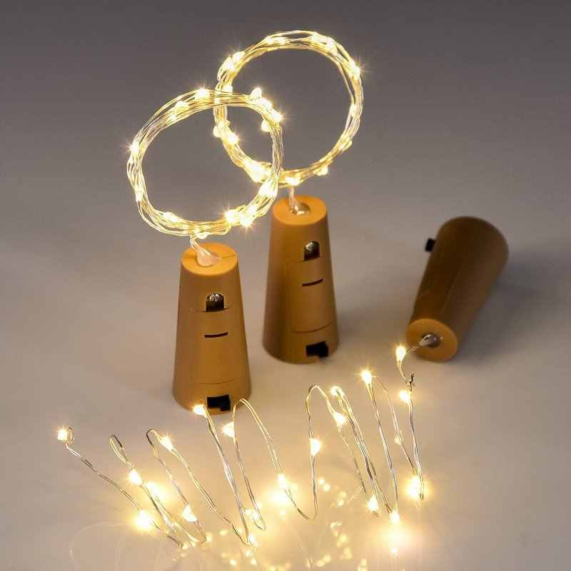 1M 2M Copper Wire Garland Bottle Stopper Led Fairy Lights for Glass Craft LED String Lights Wedding Christmas Birthday Decoratio