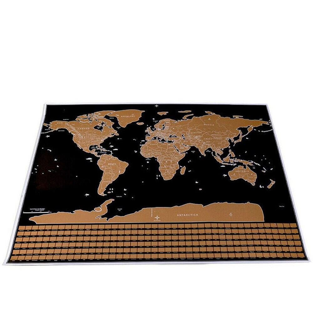 Делюкс стирается карта мира Скретч Карта мира путешествия 42*30 см плакат медная фольга персонализированный журнал с цилиндрической