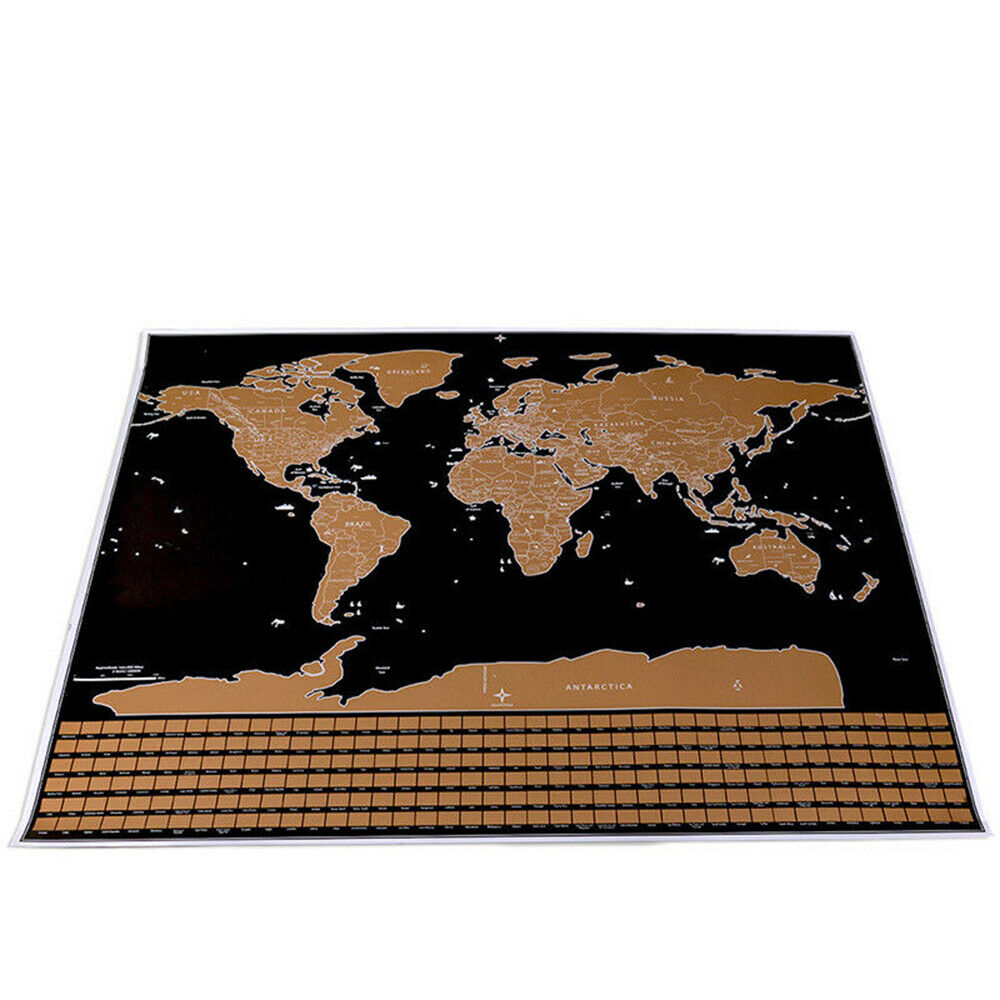 Deluxe Erase World Map Scratch Off World Travel Map 42*30CM Poster Copper Foil Personalized Journal Log With Cylinder Packing