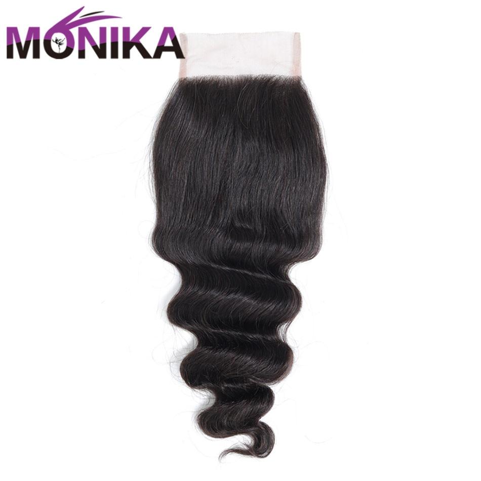 Monika Indian Hair Loose Deep Wave Closure Human Hair Closure Swiss Lace Closure 4x4 Middle/Three/Free 130% Density Non-Remy