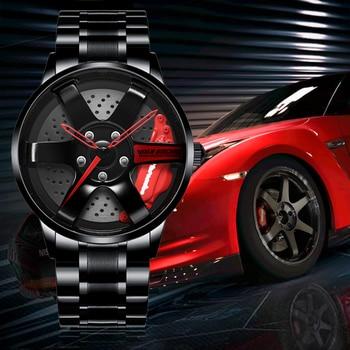 NEKTOM Men Car Wheel Watch Fashion Waterproof Sport Watch Men's Quartz Mesh With Rim Hub Watch Run Quartz Men Quartz Watch