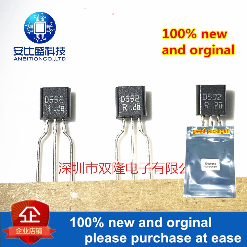 10pcs 100% New And Orginal 2SD592-R 2SD592 TO92 1A/25V In Stock