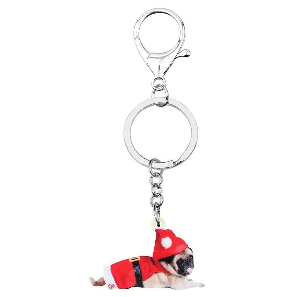 Bonsny akrylowe boże narodzenie kapelusz jednolite mops pies breloki pierścienie łańcucha samochód torebka portfel breloki dla kobiet dziewczyna Lady mężczyźni dekoracje prezent