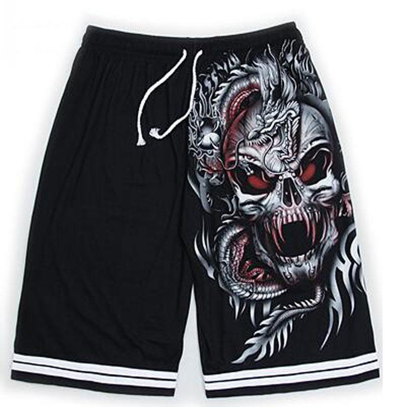 Men 3D Luminous Shorts Summer Wolf Skull Cotton Shorts Fluorescent Personalized Noctilucent Night Club Rock Boys Shorts 8 Colors