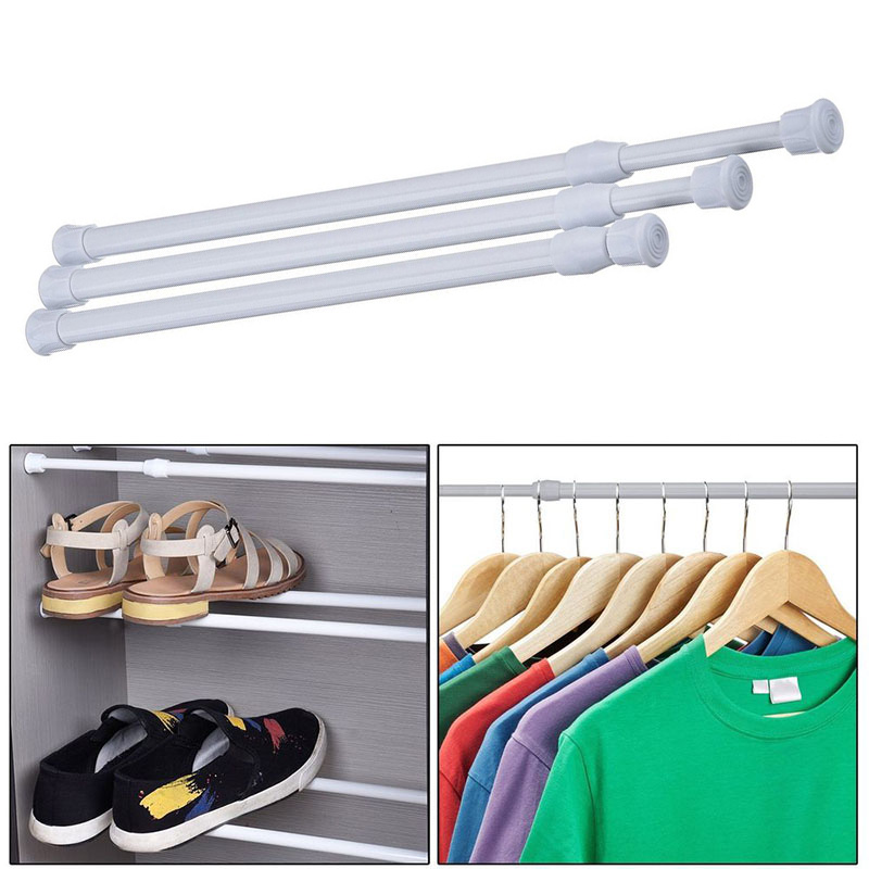 New Adjustable Metal Towel Curtain Rod Wardrobe Hanger Rod Spring Loaded Bathroom Bar Extendable Telescopic Pole Rail Hanger Rod