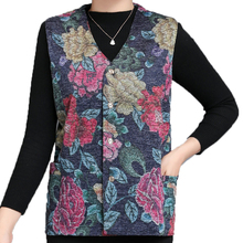 Chinese Style Woman Herringbone Vest Flower Jacquard Weave V-neck Red Blue Waistcoat Single Breasted Sleeveless Outerwear Women