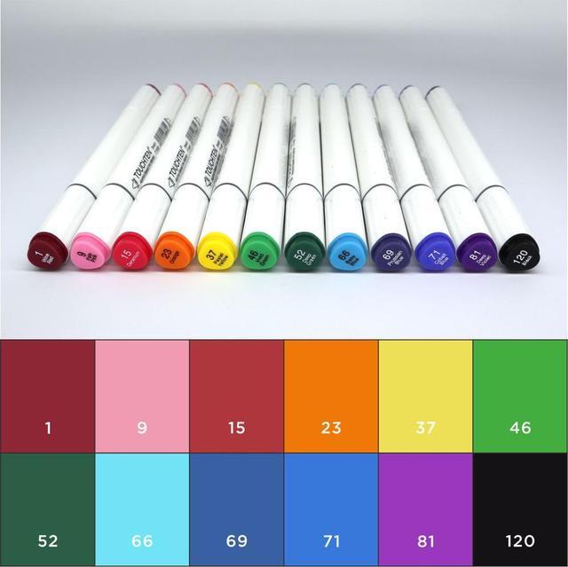 TOUCHTEN 12/24Color Gery/Basic/Skin Color Dual Head Art Marker Alcohol Sketch Markers Pen Design Marker Supplies 1
