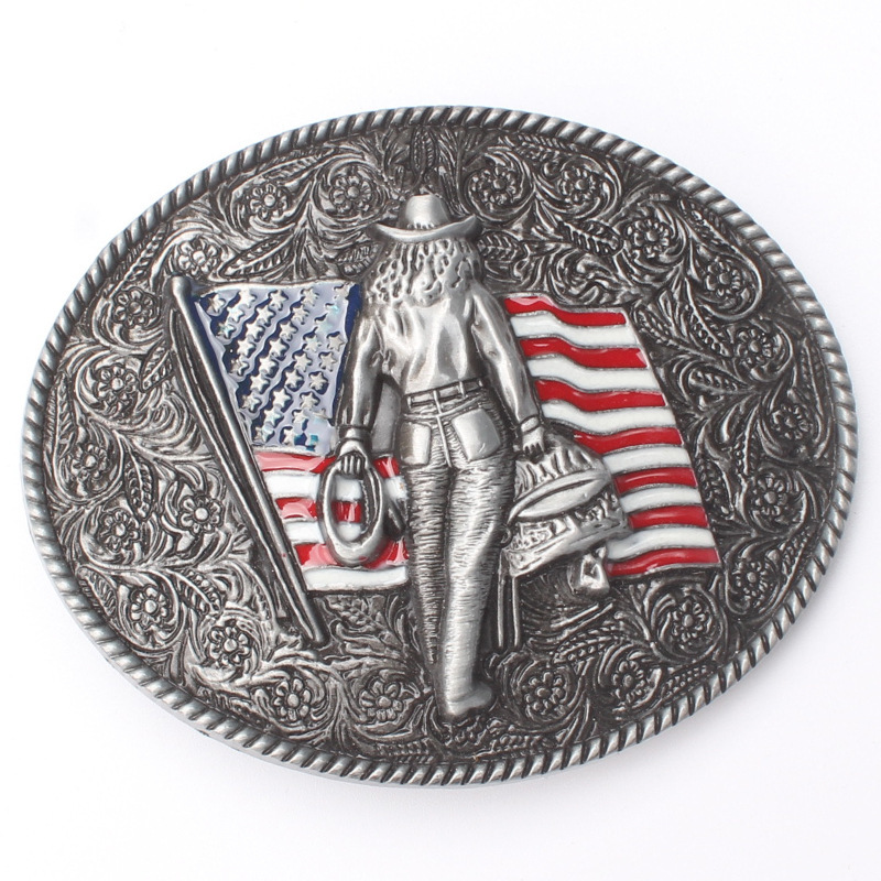 American West Cowboy Belt Buckle Handmade Homemade Belt Accessories Waistband DIY Western Cowboy Rock Style K55