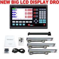 Kit DRO Leitura Digital New Big Display Lcd Escalas Lineares Dro + 3 PCS 5U Governante Óptica 50mm a 1000 milímetros para a Moagem Torno Máquinas