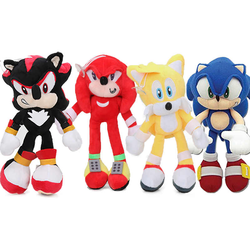 20 27cm Pack Of 4 Black Blue Sonic The Hedgehog Plush Toy Super Sonic The Hedgehog Plush Tails Soft Stuffed Dolls Keychain Aliexpress