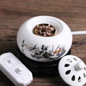 200-240V Timing Thermostat Electronic Sandalwood Furnace Ceramic Scented Ovens Incense Burner Essential Oil Aroma Burner F(China)